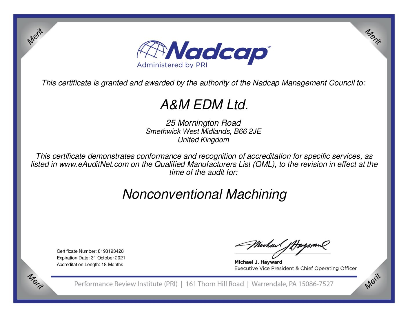Nadcap Nonconventional Machining Task Group certificate to 2021 pdf Downloads