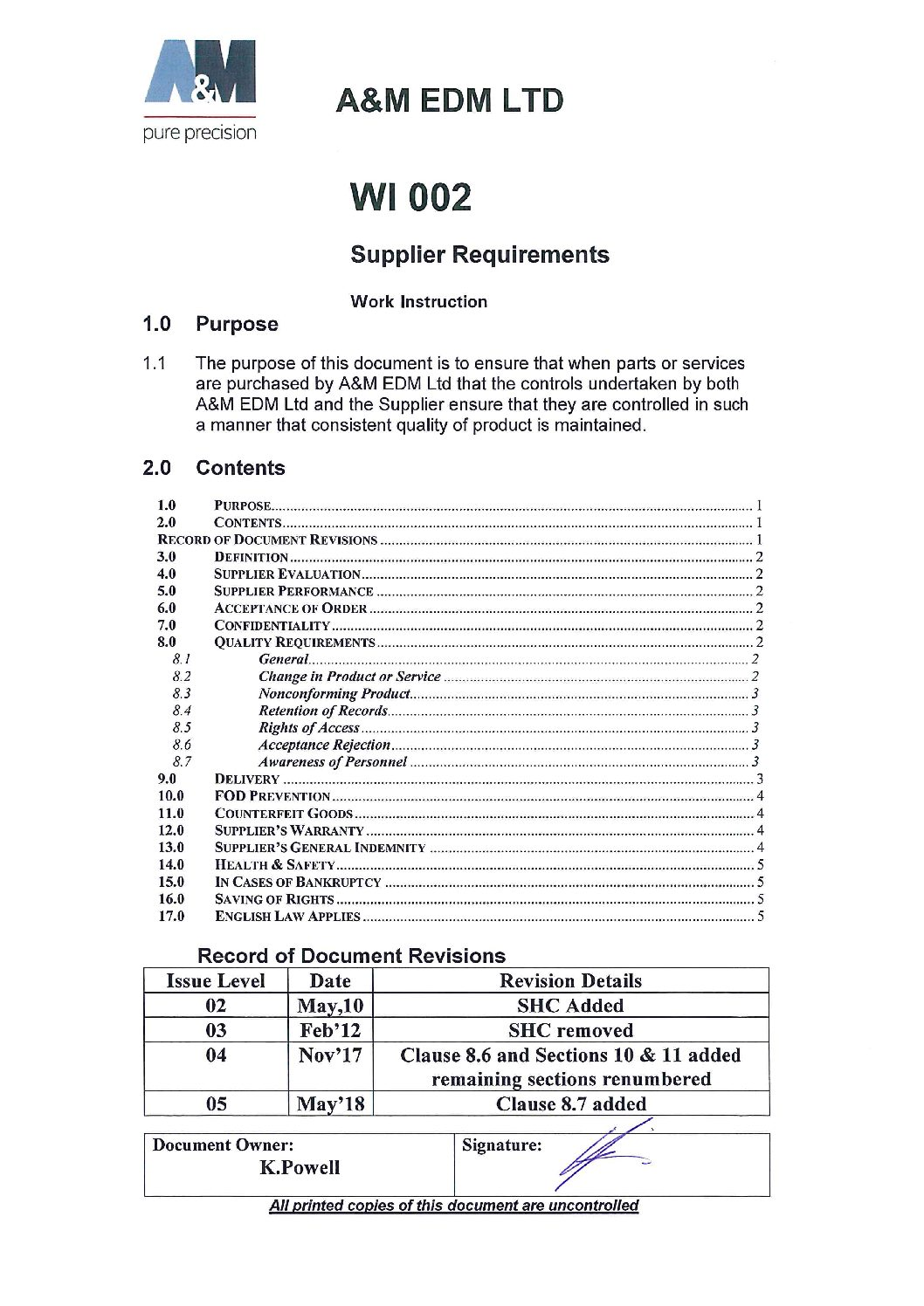 Supplier requirments May 2018 pdf Downloads