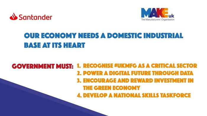 cov19 santander 4 recommendations MAKE UK call to Reset manufacturing as centre of UK economy
