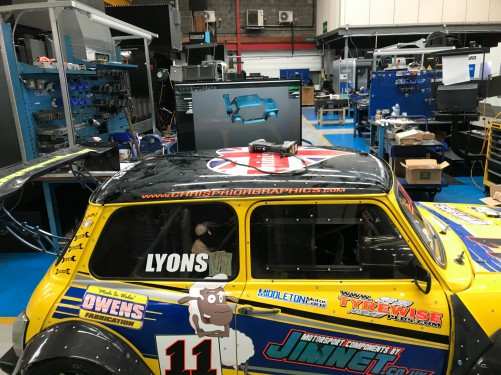 img 0397 500 Jim Lyons racing Mini at A&M for A+5 engine testing & 3D scan