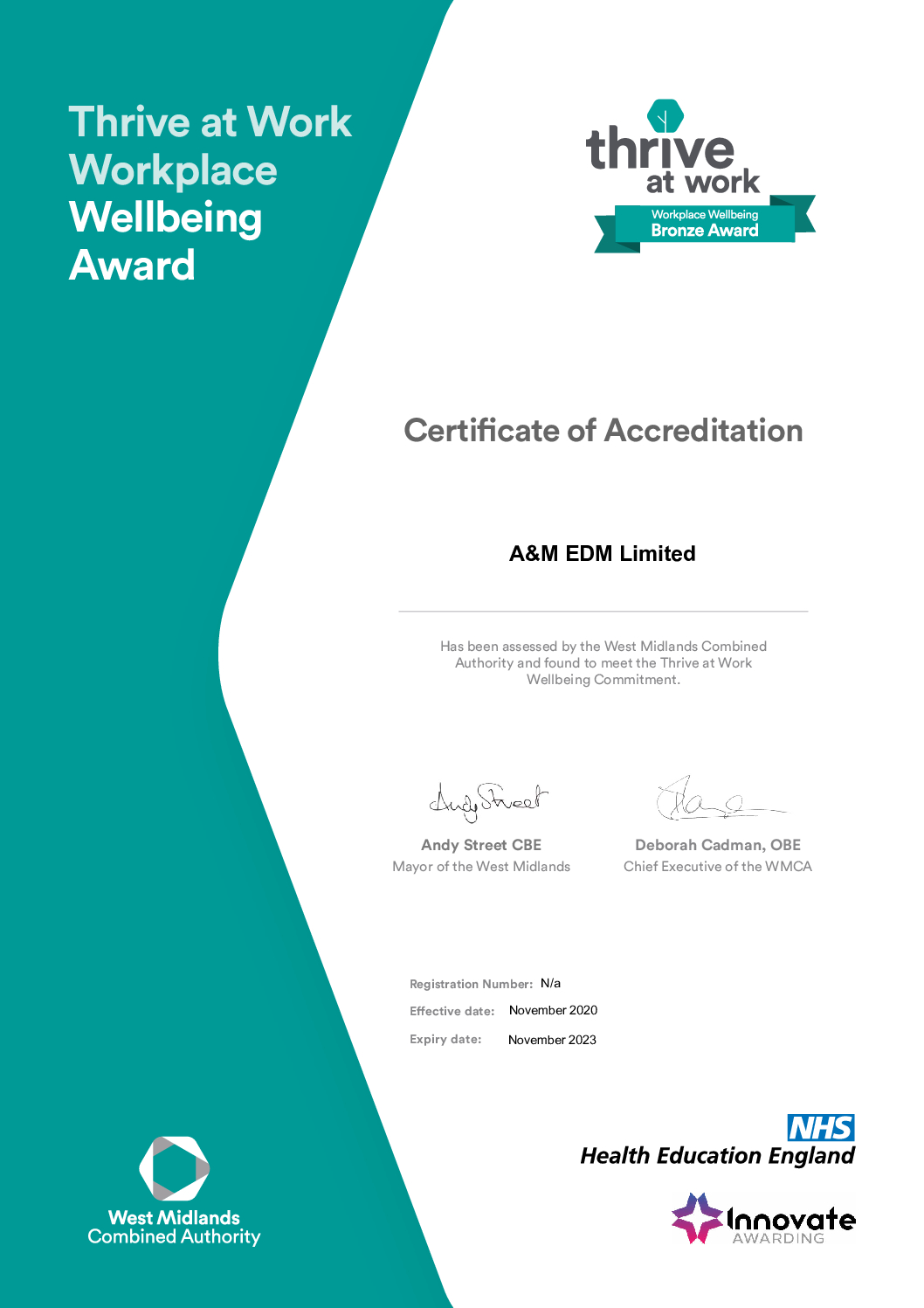 Thrive at Work Bronze Accreditation Certificate pdf Downloads